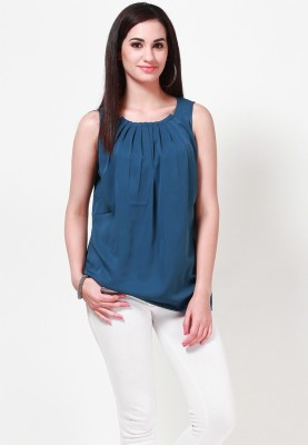 Tops and Tunics Casual Sleeveless Solid Women's Blue Top at flipkart