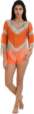 Holidae Casual 3/4 Sleeve Embroidered Women's Orange Top
