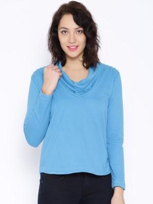 Noble Faith Casual Full Sleeve Solid Women's Blue Top