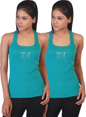 Twin Birds Casual Sleeveless Solid Women's Blue Top
