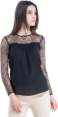 Kazo Casual Full Sleeve Embellished Women's Black Top