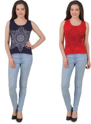 Yati Casual Sleeveless Printed Women's Red, Dark Blue Top