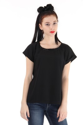 Pepe Jeans Casual Short Sleeve Solid Women's Black Top