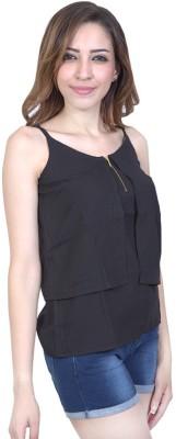 Urban Religion Casual, Festive, Party, Wedding Sleeveless Self Design Women's Black Top