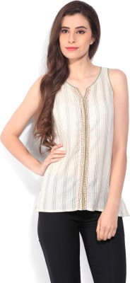 People Casual Sleeveless Embroidered Women's Beige Top at flipkart