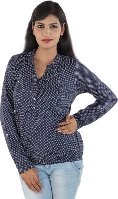 Aimeon Casual Full Sleeve Polka Print Women's Blue, White Top