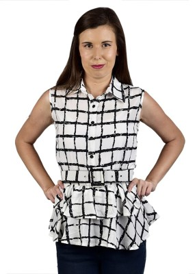 Saffora Fashion Casual Sleeveless Checkered Women's White Top