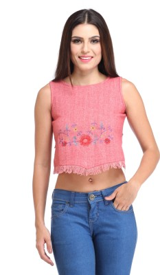 Amirich Casual Sleeveless Embroidered Women's Red Top