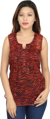 Chloe Casual Sleeveless Printed Women,s Red, Black Top