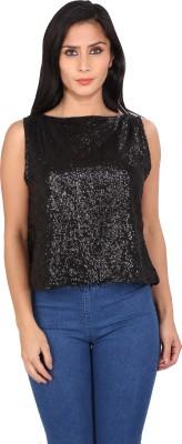 ASHTAG Party Sleeveless Embellished Women's Black Top