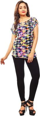 Reinvent Casual Short Sleeve Self Design Women's Multicolor Top
