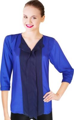 BeforeAfter Formal 3/4 Sleeve Solid Women's Dark Blue Top