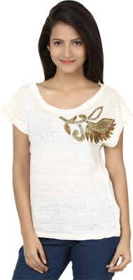 Modimania Casual, Festive, Party Short Sleeve Embellished Women's White Top