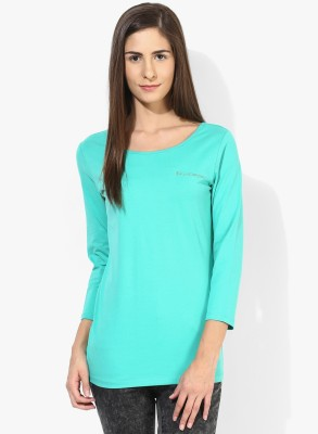 T-shirt Company Casual 3/4 Sleeve Solid Women's Green Top