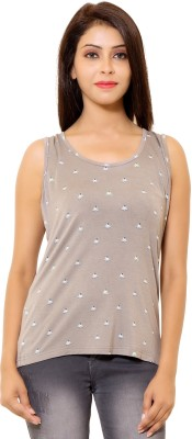 LEELA Casual Sleeveless Floral Print Women's Grey Top