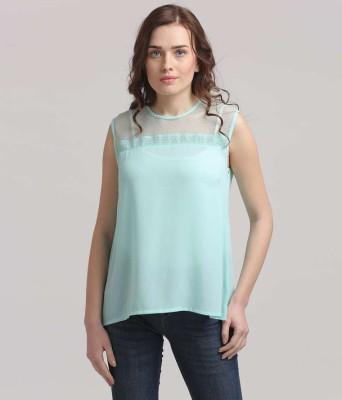Moda Elementi Casual Sleeveless Solid Women's Green Top