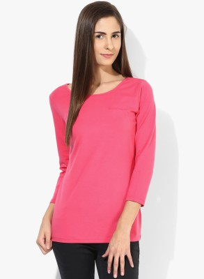 Tshirt Company Casual 3/4 Sleeve Solid Women's Pink Top