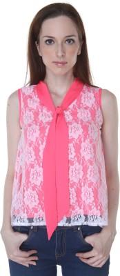 Rigoglioso Casual Sleeveless Self Design Women's Pink, White Top