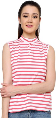Ebry Casual Sleeveless Striped Women's Red Top
