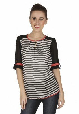 Girl Next Door Casual 3/4 Sleeve Striped Women's Multicolor Top