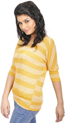 My Hollywood Shop Casual 3/4 Sleeve Striped Women's Yellow Top