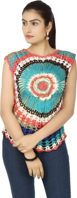 Urban Chic Casual Sleeveless Embroidered Women's Multicolor Top