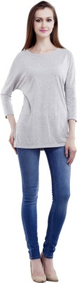 MansiCollections Casual 3/4 Sleeve Solid Women's Grey Top