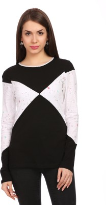 Legona Casual, Party, Formal Full Sleeve Printed Women's Black, White Top
