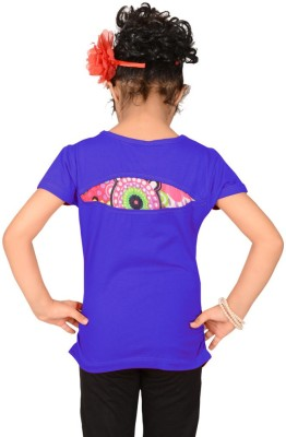 Sweet Angel Casual Short Sleeve Printed Girl's Blue Top