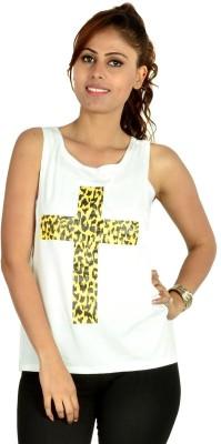 Designeez Casual Sleeveless Solid Women's White Top