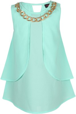 Chicabelle Casual Sleeveless Solid Girl's Light Green Top