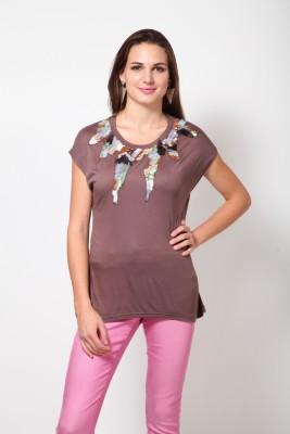 Rena Love Casual Short Sleeve Printed Women's Brown Top