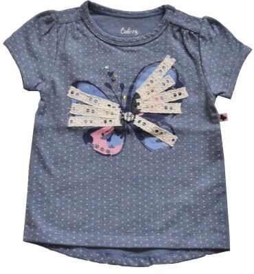 Babeez Casual Short Sleeve Polka Print Baby Girl's Blue Top
