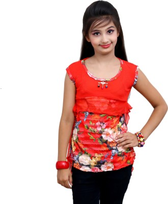 Blinkin Casual Sleeveless Floral Print Girl's Red Top