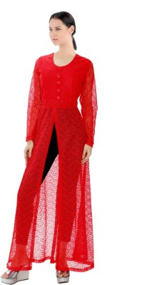 M&F Party Full Sleeve Self Design Women's Red Top