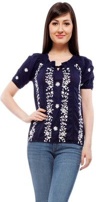 Orous Casual Short Sleeve Printed Women's Blue Top