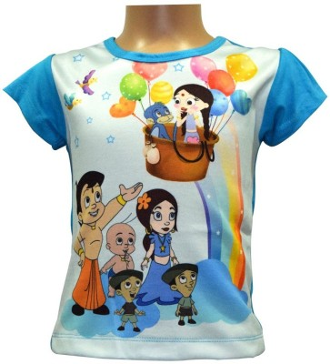 Chhota Bheem Casual Short Sleeve Printed Girl's Dark Blue Top