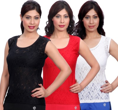 Selfcare Casual Sleeveless Woven Women's Red, Black, White Top at flipkart