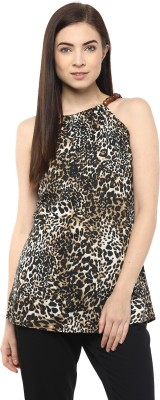 Moderno Party Sleeveless Printed Women's Brown Top