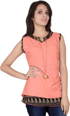 TIMBERLAKE Casual Sleeveless Solid Women's Pink Top