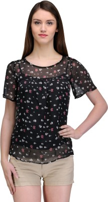 TheGudLook Casual Short Sleeve Printed Women's Black Top
