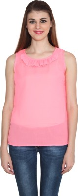 Sharleez Casual Sleeveless Solid Women's Pink Top