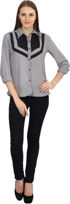 Glitterss Casual Full Sleeve Solid Women,s Grey Top