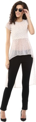 Magnetic Designs Casual Short Sleeve Printed Women's Beige Top