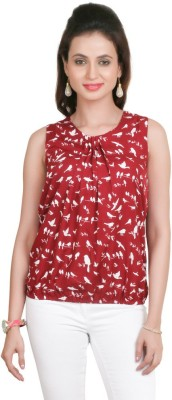 Big Tree Casual Sleeveless Floral Print Women's Red Top