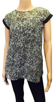 FASIION Casual Cap sleeve Animal Print Women's Black Top