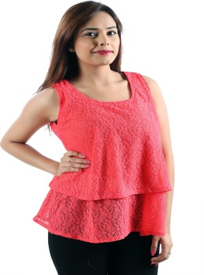 Awesome Party Sleeveless Self Design Women's Pink Top