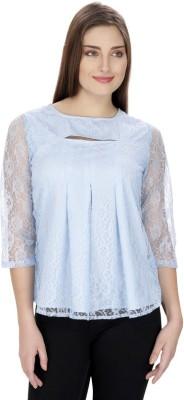 Ihastrenz Casual 3/4 Sleeve Solid Women's Light Blue Top
