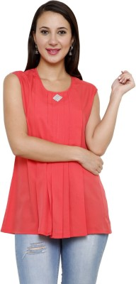 Rumara Casual Sleeveless Solid Women's Red Top