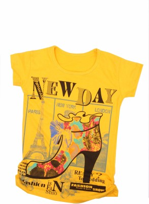 Earth Conscious Casual Short Sleeve Printed Girl's Yellow Top